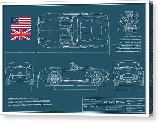 Cobras Canvas Print - Shelby American 427 Cobra Blueplanprint by Douglas Switzer