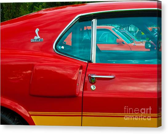 Red Shelby Mustang Side View Canvas Print