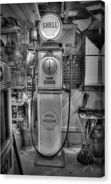 Canvas Print featuring the photograph Shell Gas Pump by Williams-Cairns Photography LLC
