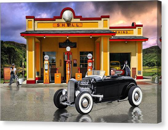 Shell Station .... Canvas Print by Rat Rod Studios