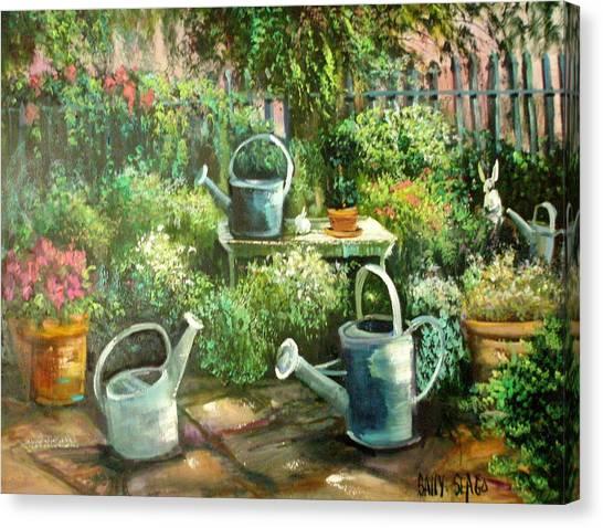 Shelley's Garden Canvas Print by Sally Seago