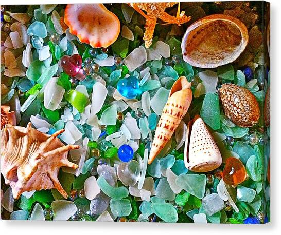 Shells And Glass Canvas Print