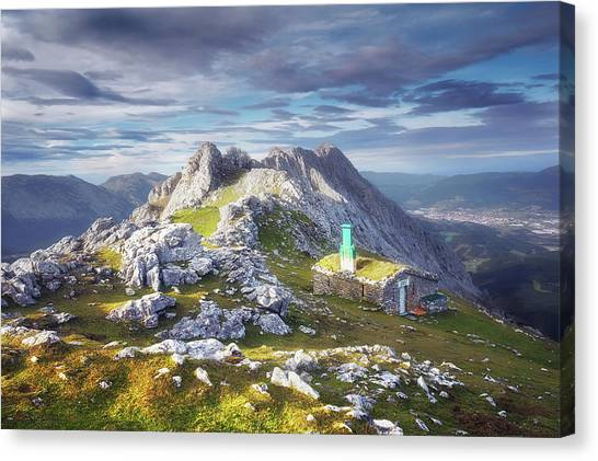 Shelter In The Top Of Urkiola Mountains Canvas Print