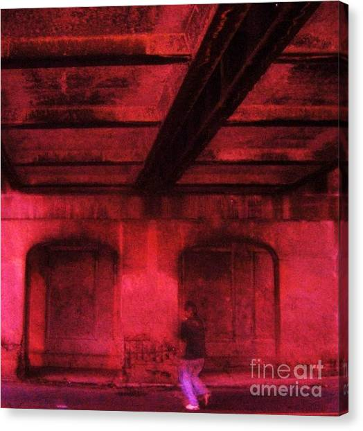 Shelter In The Tunnel Canvas Print by Reb Frost