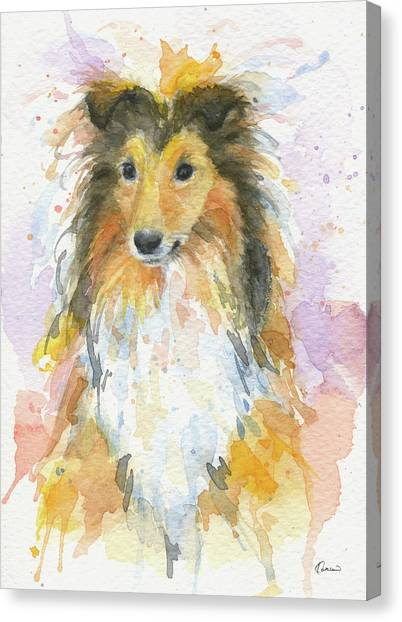 Watercolor Pet Portraits Canvas Print - Sheltie by Kathleen Wong