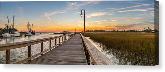 Shem Creek Pier Panoramic Canvas Print