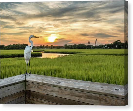 Shem Creek Pier Sunset Canvas Print