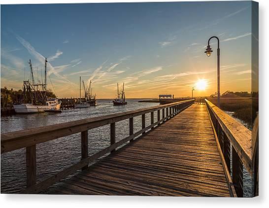 Shem Creek Pier Sunset - Mt. Pleasant Sc Canvas Print