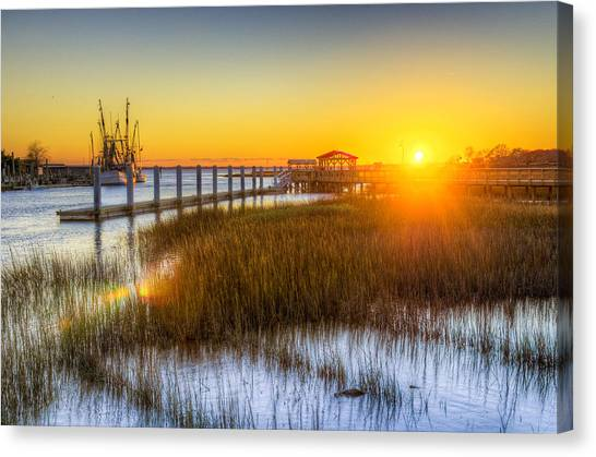 Oysters Canvas Print - Shem Creek Sunset - Charleston Sc  by Drew Castelhano