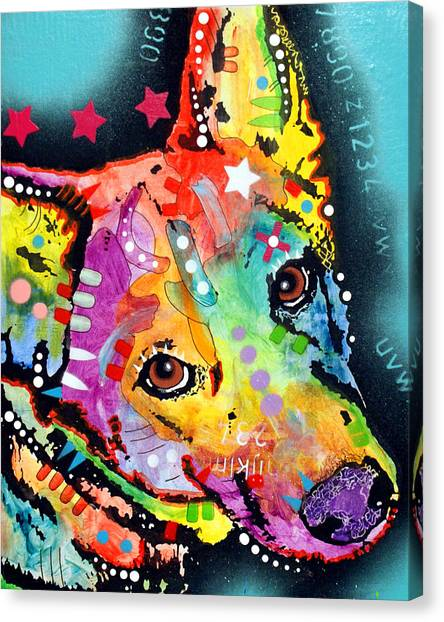 Pit Bull Canvas Print - Shep by Dean Russo Art