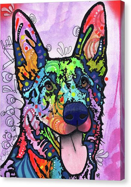 German Shepherds Canvas Print - Shepherd Love by Dean Russo Art