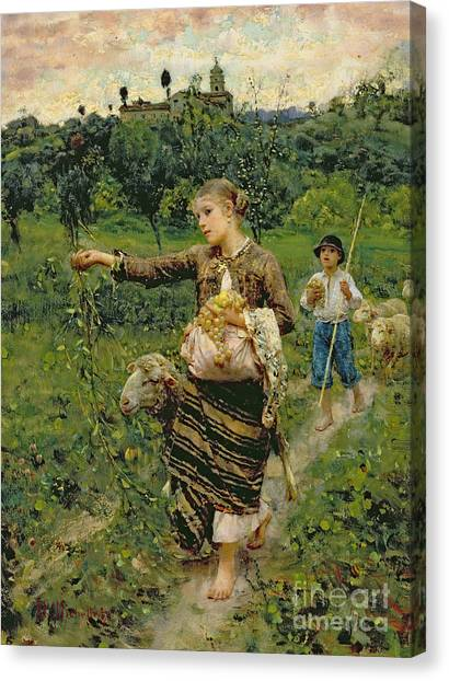 Rural Landscapes Canvas Print - Shepherdess Carrying A Bunch Of Grapes by Francesco Paolo Michetti