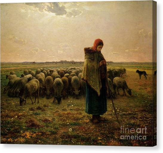 Evening Scenes Canvas Print - Shepherdess With Her Flock by Jean Francois Millet