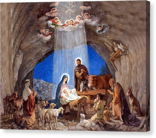 Shepherds Field Nativity Painting Canvas Print