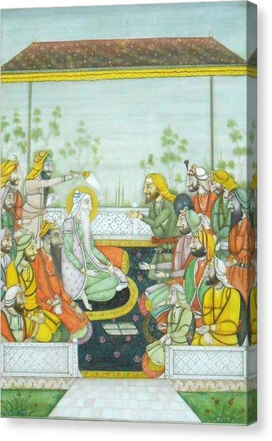 Sikh Art Canvas Print - Sher A Punjab Sikh Maharaja Ranjit Singh Court Scene Miniature Painting Of India Watercolor Artwork by Ravi Sharma
