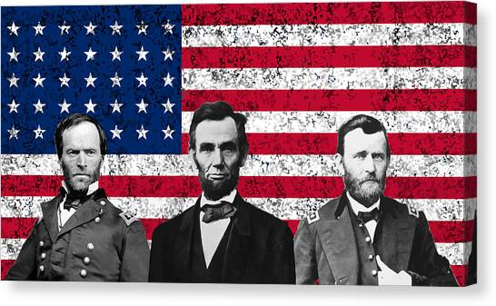 Us Civil War Canvas Print - Sherman - Lincoln - Grant by War Is Hell Store