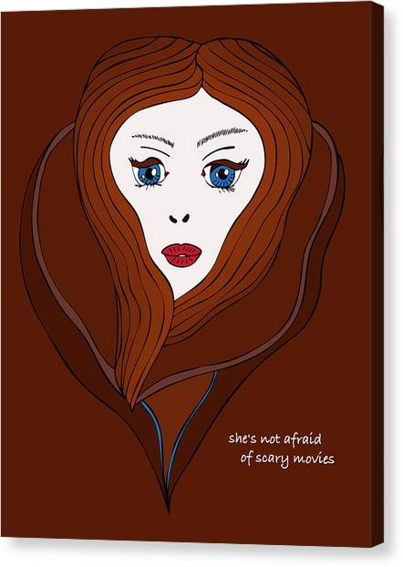 She's Not Afraid Of Scary Movies Canvas Print by Frank Tschakert