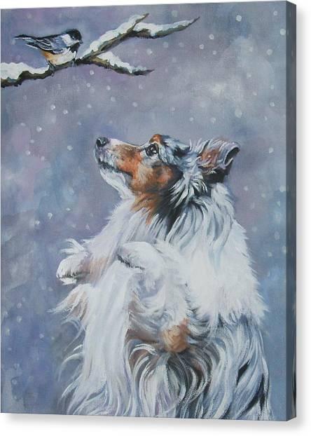 Chickadee Canvas Print - Shetland Sheepdog With Chickadee by Lee Ann Shepard
