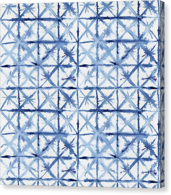 Tie-dye Canvas Print - Shibori Kubo Watecolor X Pattern Line Work Indigo Blue by Audrey Jeanne Roberts