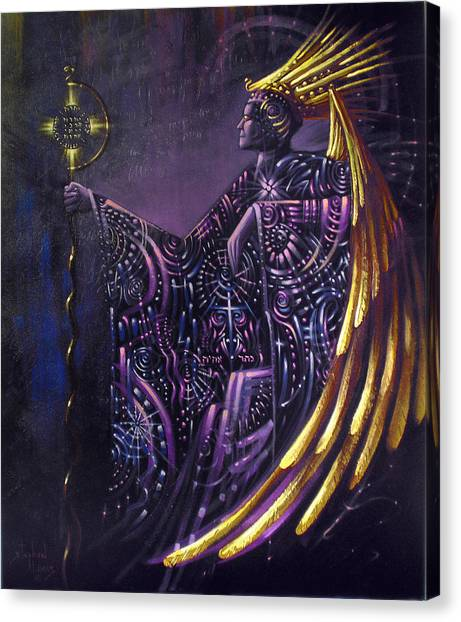 Shielded By Ineffable Names Thus I Rule Canvas Print by Stephen Lucas