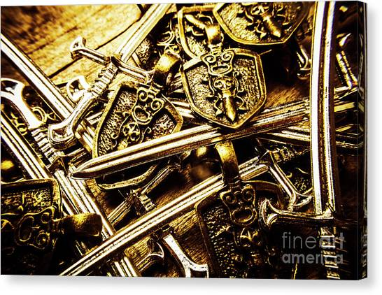 Medieval Art Canvas Print - Shields And Swords Weapons by Jorgo Photography - Wall Art Gallery