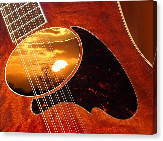 Classical Guitars Canvas Print - Shimmering 12 String Sunset by Gill Billington