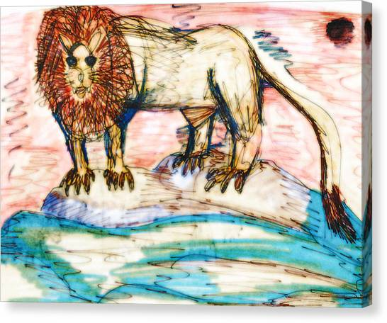 Shining Lion Canvas Print by Andrew Blitman