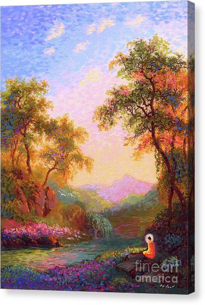 Monks Canvas Print - Shining Peace Buddha Meditation by Jane Small
