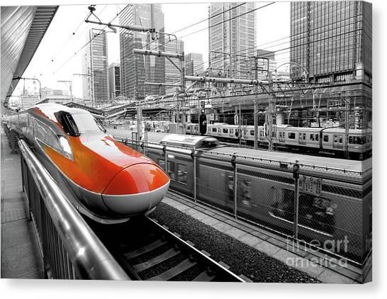 Bullet Trains Canvas Print - Shinkansen At Tokyo Station by Kyle Style
