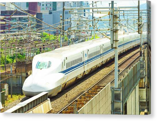 Bullet Trains Canvas Print - Shinkansen Bullet Train Departing Kyoto Angled by Pius Lee