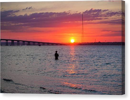 Shinnecock Fisherman At Sunset Canvas Print