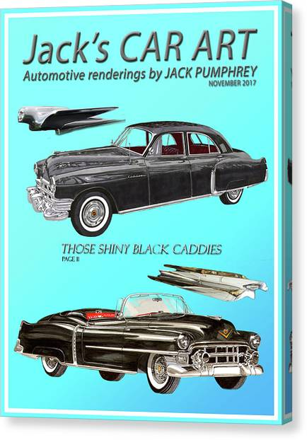 Canvas Print - Shiny Black Cadillac Art by Jack Pumphrey