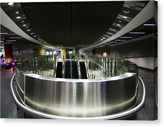 Shiny Singapore Stainless Steel Underground Station Canvas Print by Jane McDougall