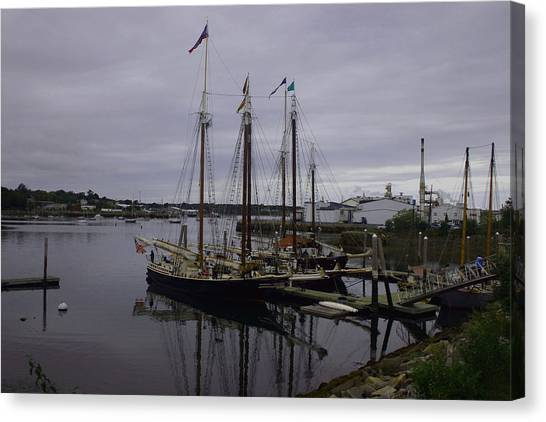 Ship At Dock. Canvas Print by Dennis Curry