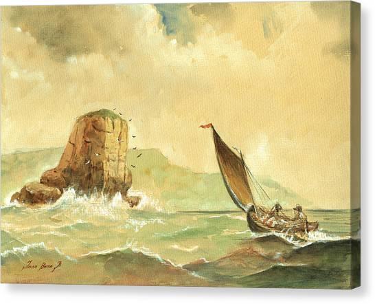 Sail Canvas Print - Ship At The Storm by Juan  Bosco