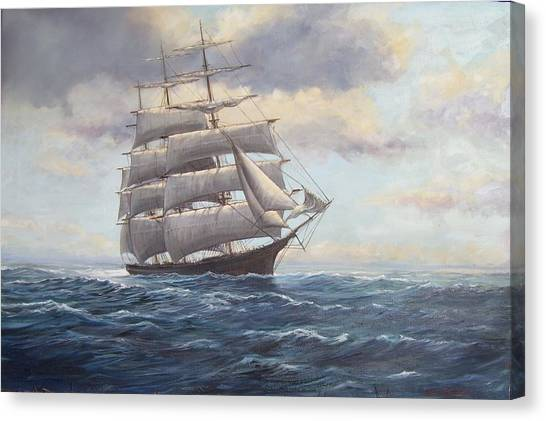 Ship Coming Out Of Morning Fog Canvas Print