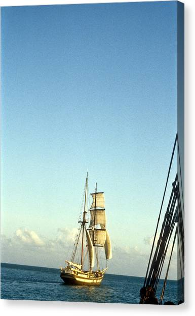 Jibbing Canvas Print - Ship Off The Bow by Douglas Barnett