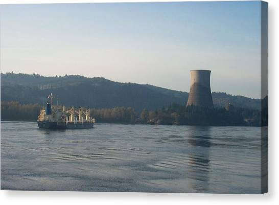 Ship Passing The Now Demolished Trojan Nuclear Plant Canvas Print by Alan Espasandin