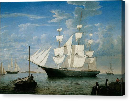 Ship Star Light In Boston Harbor Canvas Print by Fitz Hugh Lane