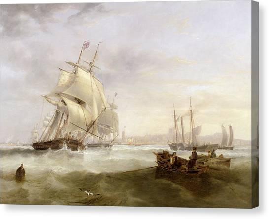 North Sea Canvas Print - Shipping Off Hartlepool by John Wilson Carmichael