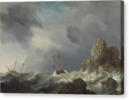 Canvas Print - Ships In A Gale by Willem Van De Velde The Younger