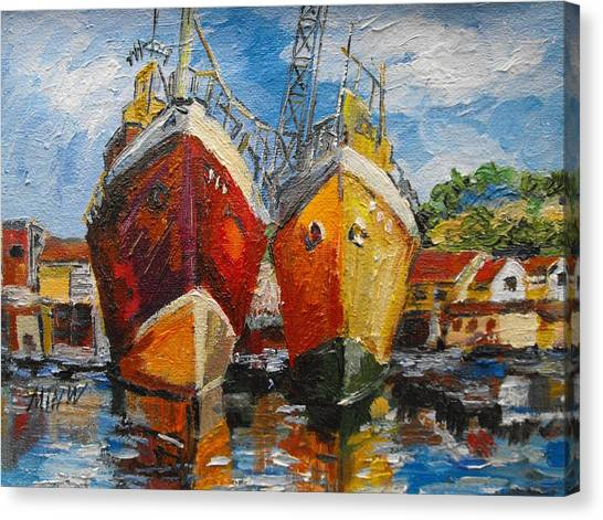 Ships In Repair Canvas Print by Min Wang