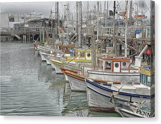 Ships In The Harbor Canvas Print