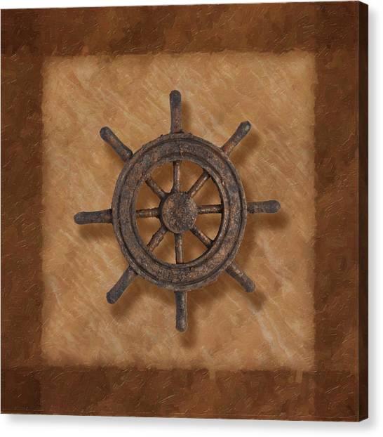 Sailing Canvas Print - Ship's Wheel by Tom Mc Nemar