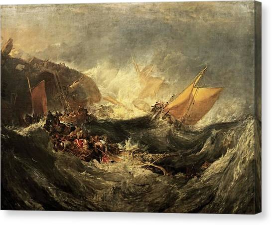 Minotaurs Canvas Print - Shipwreck Of The Minotaur by J M William Turner