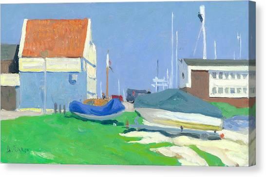 Shipyard Volendam In Springtime Canvas Print by Ben Rikken