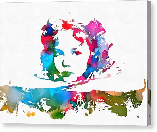 Shirley Temple Canvas Print - Shirley Temple Watercolor Paint Splatter by Dan Sproul