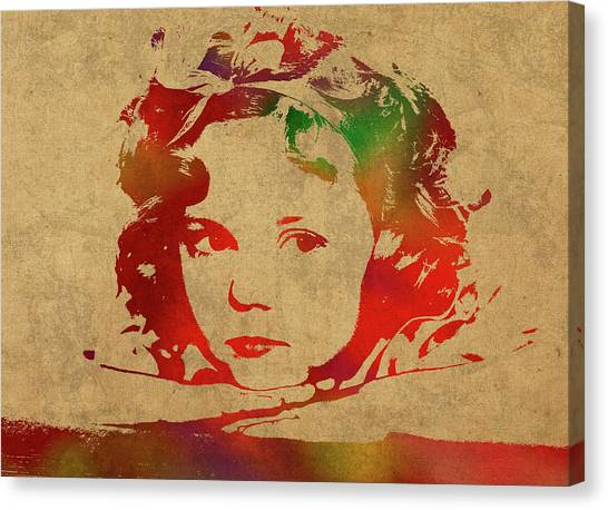 Shirley Temple Canvas Print - Shirley Temple Watercolor Portrait by Design Turnpike
