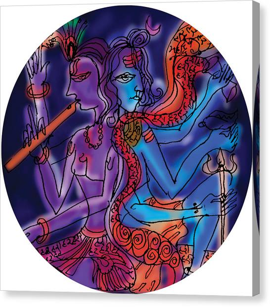 Shiva And Krishna Canvas Print