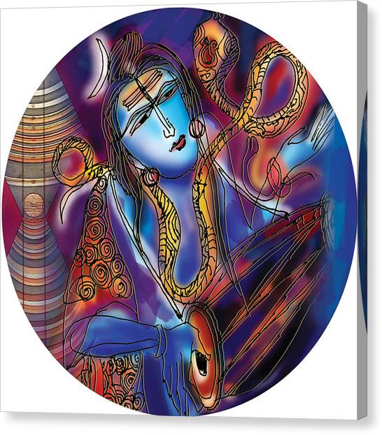 Shiva Playing The Drums Canvas Print